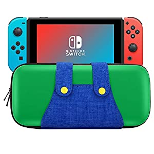 MoKo Carrying Case Compatible with Nintendo Switch, Portable Protective Hard Shell Cover Travel Carrying Case Storage Bag with 10 Game Cartridge Holder for Nintendo Switch Console – Green + Blue