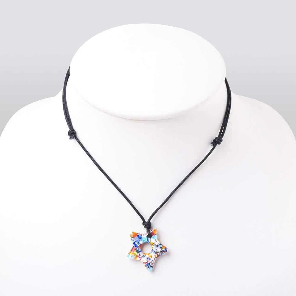 """Chuvora Millefiori Murano Glass Multi-Colored Dangling Star Pendant 30 mm Adjustable Necklace 15/""""-30/"""""""