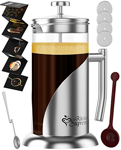 French Coffee & TeaMaker Complete Bundle | 34 Oz | Best Coffee Pot with Stainless Steel & Double German Glass