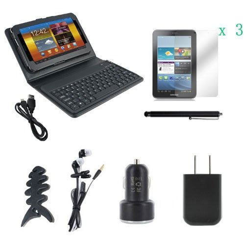 EEEKit Starter Kit for Samsung Galaxy Tab 2 7.0 P3100, Portable PU Wireless Bluetooth Keyboard Stand Case Suit Black + 3 Pack Crystal Clear Screen Protector + Universal Touch Screen Stylus Pen + Earphone + Fishbone Headset Wrap + USB (Fishbone Earphone)