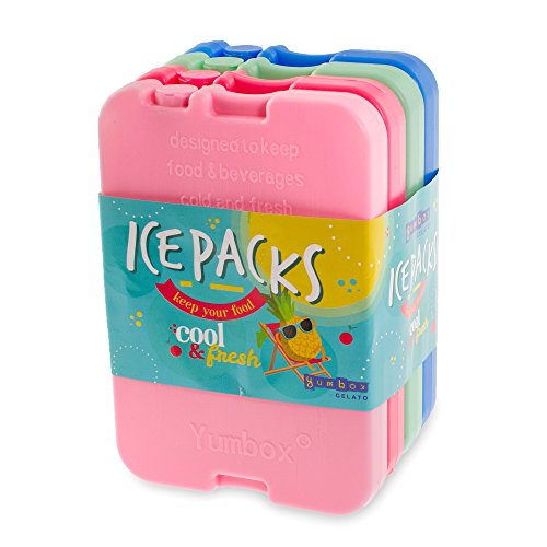 YUMBOX Gelato Ice packs; Slim Reusable Ice Packs for Lunch Boxes, Lunch Bags and Coolers, Multi-colored set of 4