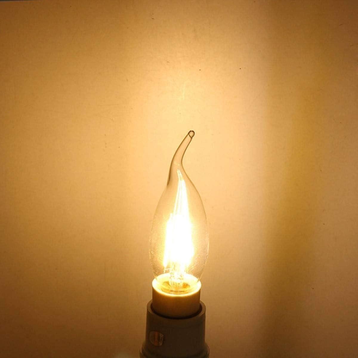 HC Lighting 7W 10//Pack 12V Low Voltage Chandelier Light Bulb Flame Tip E12 Clear Flame Tip Incandescent Lamp Candelabra Base