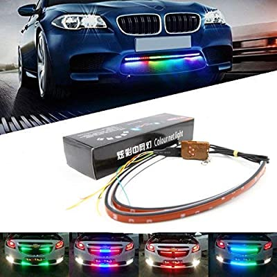 "LED Knight Rider Scanner Strip Lighting Bar - RGB 23"" 60CM Multi 7-Color Decorated Bumper Grille Light IR Remote Control Chassis Atmosphere Strip Led Bar (Pack of 2): Automotive"