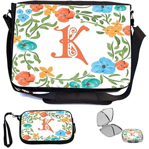Rikki Knight Letter K Monogram Floral Art Peachy Blue Design Design COMBO Multifunction Messenger Laptop Bag - with padded insert for School or Work - includes Wristlet & Mirror