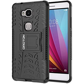 OMOTON Huawei Honor 5X Case - Dual-Layer [Soft TPU Interior] [Durable PC Exterior] High Impact Resistant Case For Huawei Honor 5X, Black