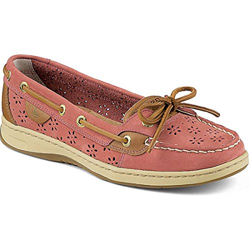 New Sperry Women's Angelfish Boat Shoes Red Perf Leather 9.5