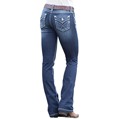 14fb691a423a98 Amazon.com: Miss Me Women's Dark Horse Stitched-Border Mid-Rise Boot Cut  Jeans: Clothing