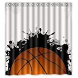 "COZOOS Fashion Basketball Is World Cool Design Shower Curtain 66""x72"" New Waterproof Polyester Fabric - Sport Life Bathroom Exclusive"