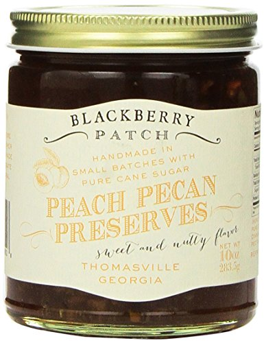 Blackberry Patch Peach Pecan Preserves 10oz. ? Made In The USA, 100% Natural Authentic Old Fashioned Handmade, Small Batch, Loaded with Southern Flavor! Replaces Jam and Jelly