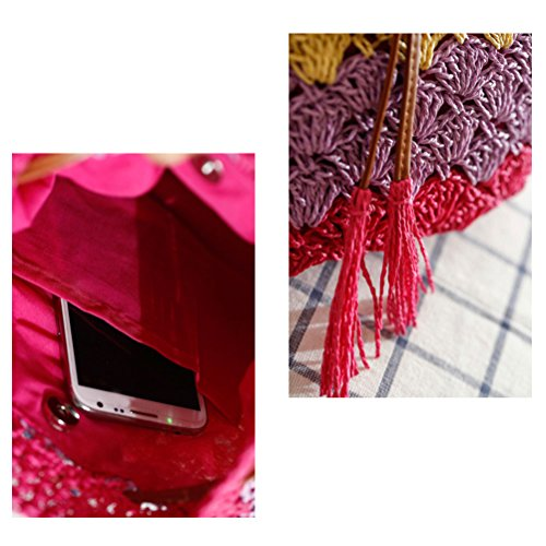 Zhuhaitf Ventas calientes High Quality Womens Leisure Tassel Straw Bag Shoulder Woven Bags Color Striped Beach Red