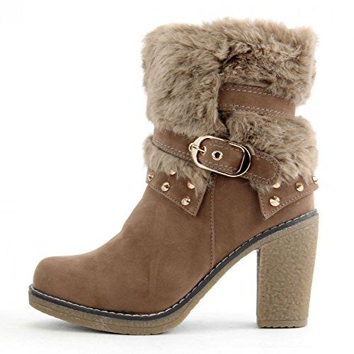 Stiefeletten Damenschuhe Stiletto High Heels Schuhe Veloursleder Optik Z8242-GA, Präzise Farbe:Khaki;Schuhgröße:EUR 39