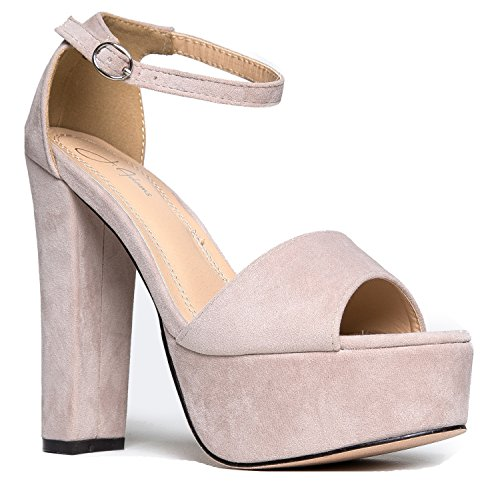 Platform Ankle Strap High Heel - Peep Toe Sandal Pump - Formal Party Chunky Dress Heel - Tutu by J. Adams