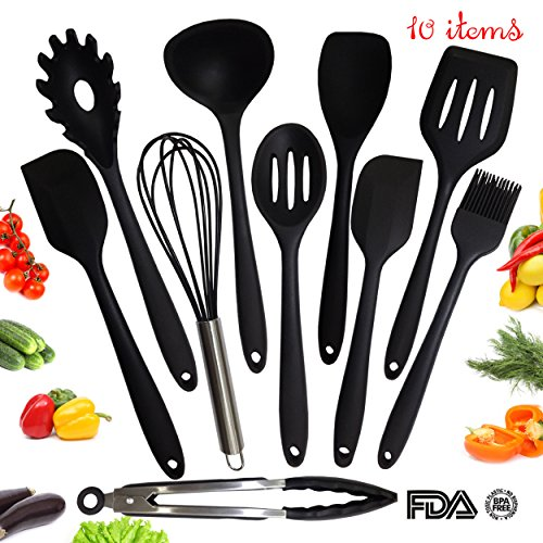Utensil Set - Kitchen Cooking Utensil Set - Silicone Kitchen Tool Set - Home Cooking Accessories for Baking - Big Utensil Set of 10 items - Spoons, Ladle, Slotted Turner, Brush, Spatula, Tongs, Whisk