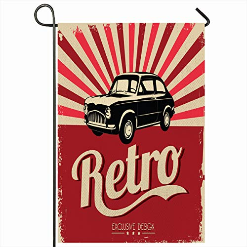 Ahawoso Outdoor Garden Flag 12x18 Inches Auto Graphic Red Retro Vintage Car Grungy Party Old Workshop Nostalgia Garage Past Classic Vehicle Tag Value Design Seasonal Double Sides House Yard Sign