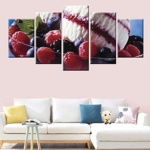 (Kkxdpq Framed 5 Pieces Painting Wallpaper HD Print On Canvas Wall Art Waterproof Home Decor Picture Strawberry Ice Cream Fruit Platter)