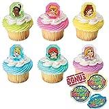 Disney Princess Gemstone Cupcake Toppers and Bonus Birthday Ring - 25 piece