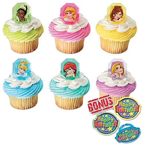 Disney Princess Gemstone Cupcake Toppers and Bonus Birthday Ring - 25 piece
