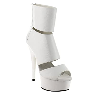 Womens White Platform Sandals Ankle Boots Cut Outs 6 Inch Heels Peep Toe  Shoes Size