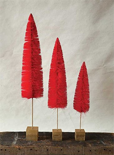 Red Bottle Brush Trees On Cube Stand - Set of 3