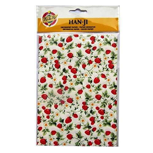 Handmade decorativo coreano han-ji gelso –  2 disegni –  Strawberry Plant & Gold Weave –  3 fogli di ogni –  Dimensioni 212 mm x 151 mm KARS