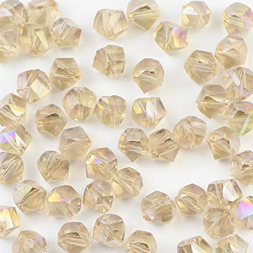 Pukido Twisted Faceted Austrian Crystal Spacer 6mm Bead 50pcs Oblique Cut Glass Scatter Bead for Jewelry Making DIY Accessories - (Color: Silver Champagne) ()