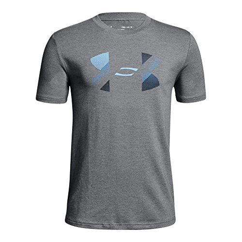 Under Armour Boys' Big Logo T-Shirt, Graphite Light Heath (040)/Mediterranean, Youth X-Large