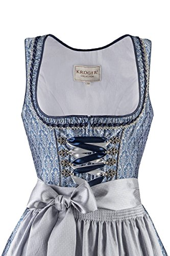 Krüger® Damen Mini Dirndl 60er blau-silber Barbara 001684