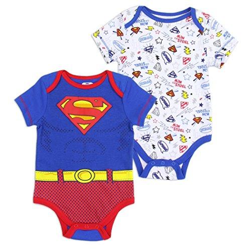 Superman Infant Baby Boys Man Of Steel Creeper Bodysuit 2-Pack (Blue, 6-9 MO.) -