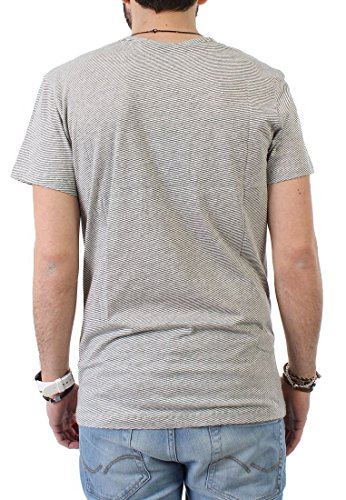 iriedaily T-Shirt Men V POCKET RINGEL Ecru Mel, Größe:XL