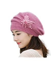 b8e3707b2a8f44 Mapletop Womens Flower Knit Crochet Beanie Hat Winter Warm Cap Beret