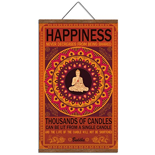 (WEROUTE Buddha Wall Art Art Zen Decor Printed on Canvas with Scroll Wood Frame Hanger Poster Happiness Quote Motivational Home Decor Hanging Painting 15.7 x 27 inch)