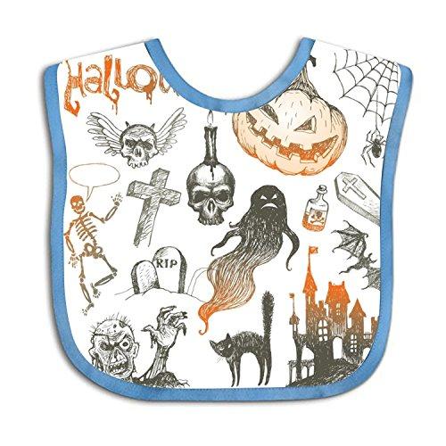 (Skeletons And Pumpkins For Halloween Teething Bib Waterproof Sleeved Bibs For Babies Toddlers)
