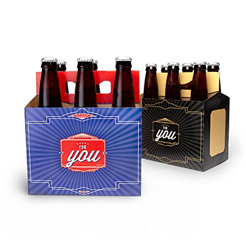 (Brews For You - 6 Pack Greeting Card Beer Gift Box by Big Betty (Set of 4) - Cardboard Beer Carrier for Bottled Beverages - Dedicated Writing Space for Personalized Notes)
