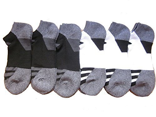 Mens Adidas No Show Athletic Socks 6 Pack (Black/White/Grey/Heather)