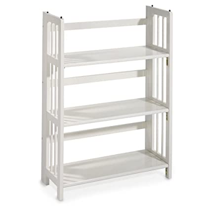 Mission Style 38 X 275 Inch White Folding Stacking Bookcase