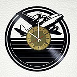 Vintage Airplane Aviation Decor Vinyl Record Wall Clock - gift idea for girls boys parents sister and brother - home & office bedroom nursery room wall decor - customize your clock