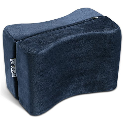 LANGRIA Knee Pillow Memory Foam Leg Pillows for Leg, Back, Hip Pain Relief, Foldable and Antibacterial Design with Removable Cover, CertiPUR-US Certified, (9.8 x 5.9 x 7.0 inches) Navy Blue by LANGRIA (Image #7)