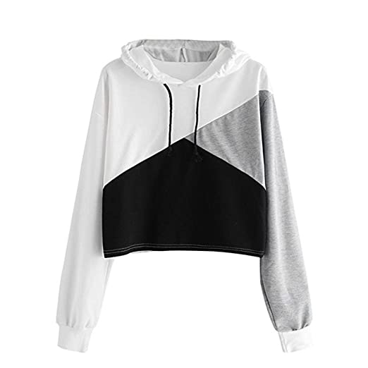 babcdf6c8a4c3e Women Teen Girls s Cotton Cute Crop Top Hoodie Sweatshirt Long Sleeve  Pullover Top Sale (Black