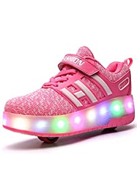 Chic Sources Unisex Kids Replaceable Battery Light Roller Skate Shoes Double Wheeled Sneaker for Boys Girls