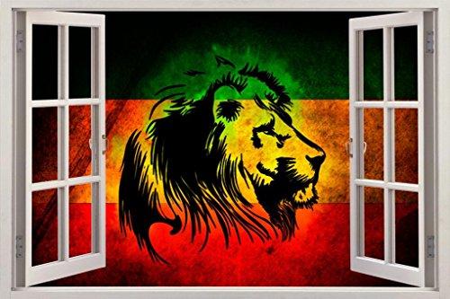 León de judá 3d ventana de vista–Adhesivo decorativo para pared Home Decor Art Mural Rasta Bandera C724, 125x80 cm...