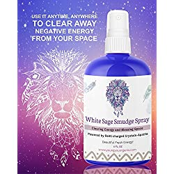 White Sage Smudge Spray for Cleansing and Clearing Energy - Alternative to Sage Smudge Stick and Palo Santo Smudge Stick Blue Apatite Crystals Infused. 4OZ