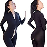 LOVER Womens Sexy Lingerie Double Zipper Long Sleeves Bodystocking Crotchless Bodysuits (Black)