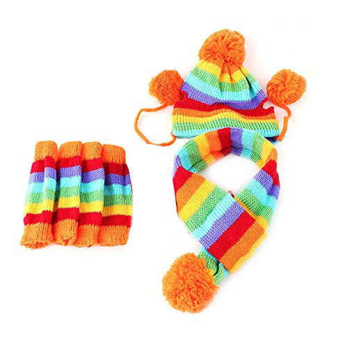 Delight eShop 3 Times Winter Warm Stripe Knitted Pet Dog Hat Scarf Socks Puppy Costume Clothes (Dog Mario Costume)