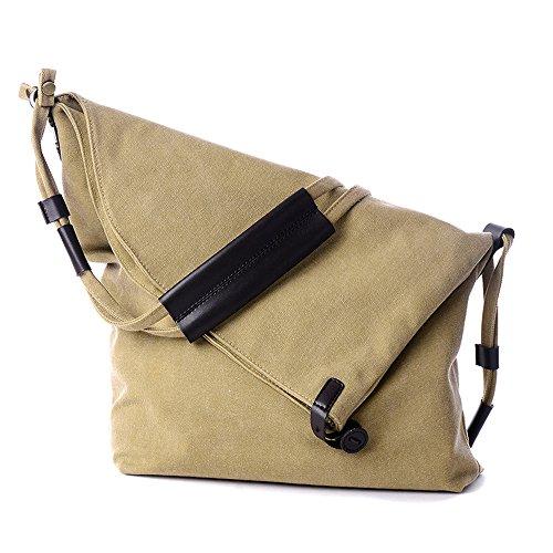 ENKNIGHT Women's Shoulder Bags Crossbody Casual Hobo Canvas Messenger Bag Khaki