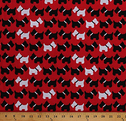 Fabric Dog Scottie (Cotton Scottie Dogs Scotties Scottish Terriers Black White Dogs Animals on Red Urban Zoologie Cotton Fabric Print by The Yard (AAK-11511-3RED))