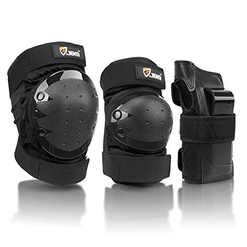 JBM international Adult / Child Knee Pads Elbow Pads Wrist Guards 3 In 1 Protective Gear Set, Black, Adult
