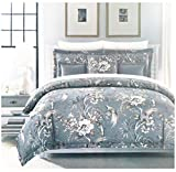 Nicole Miller Tropical Birds Floral King Duvet Comforter Cover Set Bird Blue Gray 3 Piece