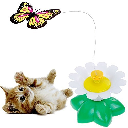 51S2PcbgS4L - Qiekenao Butterfly, Bird Toy for Cats, Pet Cats Funny Rotating Electric Flying Butterfly and Bird Interactive Cat Toy for Kitten and Puppy, Set of 2