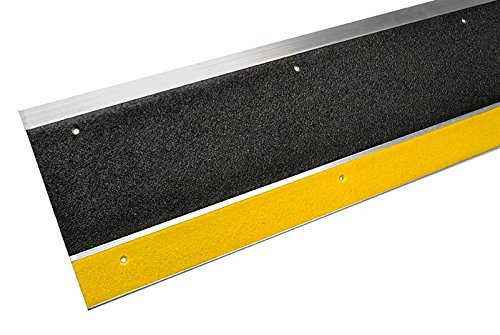 MASTER STOP 409NS20036102 Renovation Stair Tread, Yellow Front, Black Back, 1'' height, 9'' depth, 36'' length, Aluminum, mineral abrasive anti-slip surface