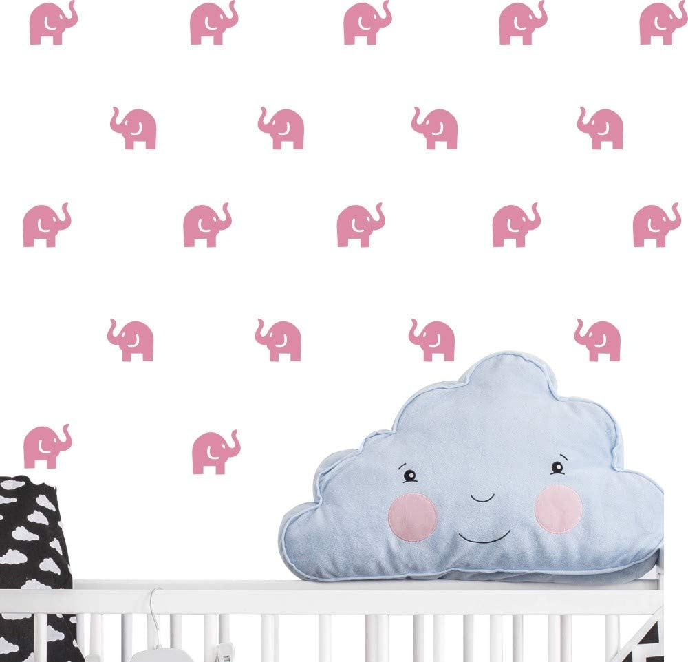 Cute Elephant Decal -36 Set Elephant Wall Decor Stickers for Kids Bedroom- Art Vinyl Removable Nursery Room Wall Decals (Soft Pink)